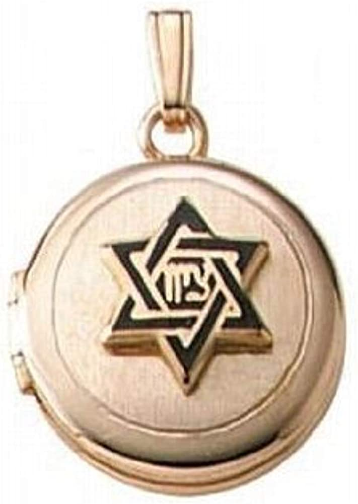 PicturesOnGold.com Solid 14K Yellow Gold Childrens Hebrew Round Locket 1/2 Inch X 1/2 Inch Solid 14K Yellow Gold