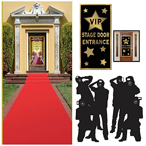 Hollywood Red Carpet Awards Ceremony Party Theme Supplies and Decorating Kit of 3 Items - Red Runner, Paparazzi Props and VIP Entrance Door Cover