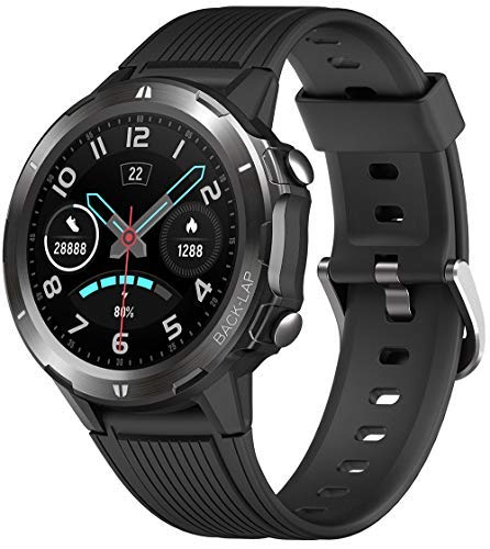 Blackview SW02 Smartwatch, Smart Armbanduhr Herren Damen Fitness Tracker Smart Watch Rund 5ATM Wasserdicht Fitnessuhr mit Pulsuhr Schrittzähler Stoppuhr Wearable Sportuhr Kompatibel iOS Android Handy