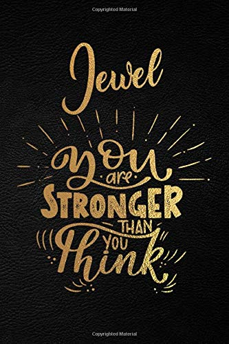 Jewel You Are Stronger Than You Think: Personalized Initial Name Writing Journal / Notebook for Girls and Women. Perfect Uplifting & Inspirational ... Lettering and Black Moleskine Leather Design.