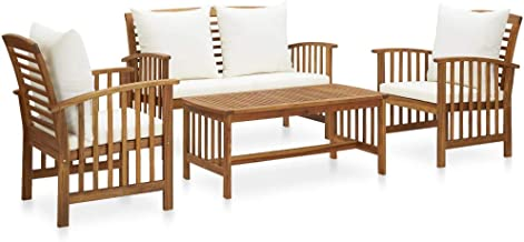 vidaXL Solid Acacia Wood Garden Lounge Set with Cushions 4 Piece Wooden Outdoor Patio Table Chair Bench Seat Seating Sitti...
