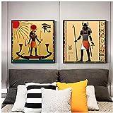 VUSMH Antiguo Egipto Lienzo Pintura Escarabajo Egipto Dios póster Impresiones Abstracto Ojo de Sol Cuadro de Arte de Pared para Decoracion de Salon de Estar del hogar 60x60cmx2 sin Marco