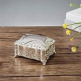 Caja De Baratijas Caja De Joyería Retro De Estilo Europeo Caja De Regalo De Boda De Cumpleaños De Princesa De Flores De Piedras Preciosas De Metal (Color: Dorado, Tamaño: 12X9X7.2Cm)