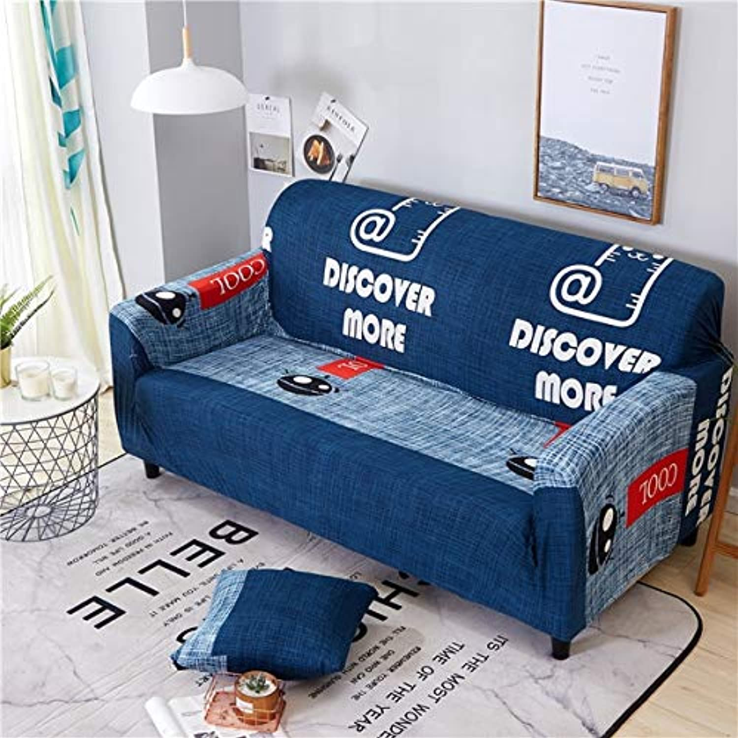 Monstera Feather Printing Spandex Elastic Slipcovers Predective Sofa Cover Stretch All-Inclusive Couch Cover for Living Room   12, Single-Seater