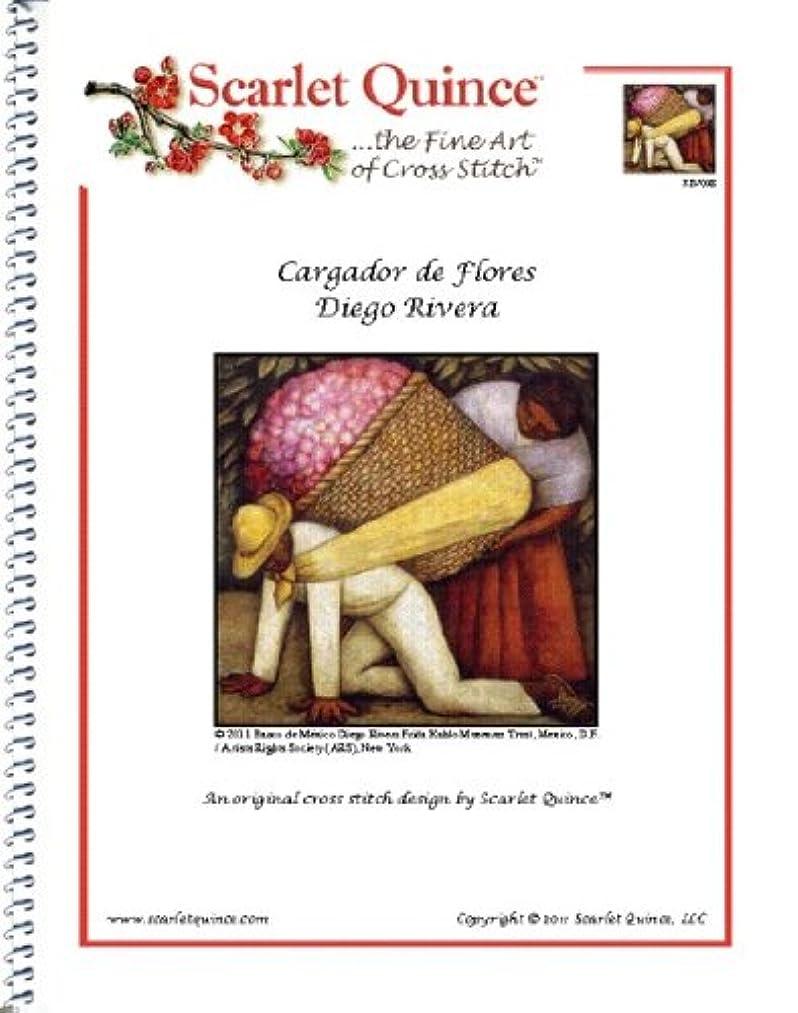 Scarlet Quince RIV008 Cargador de Flores by Diego Rivera Counted Cross Stitch Chart, Regular Size Symbols