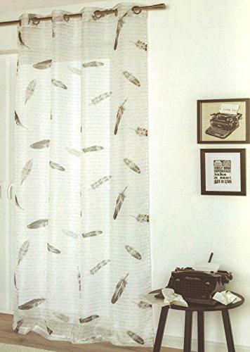 Heimtexland gordijn met ophangogen, veren, letters, vintage, decoratiegordijn, transparant, HxB 245 x 135 cm, sepia wit, veren gordijn, retro letter, type 558