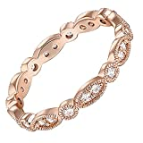 PAVOI 14K Rose Gold Plated Rings Cubic Zirconia Band | Round Milgrain Eternity Bands | Rose Gold Rings for Women Size 9