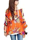 OKSakady Femmes perd Le t-Shirt en Mousseline de Soie Manches Chauve-Souris Chemisier Taille Plus Tunique