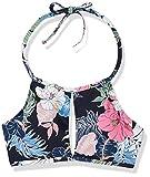 Hobie Junior's High Neck Keyhole Halter Hipster Bikini Swimsuit Top, Blue Hawaii//Hawaiian Tropics, X-Small