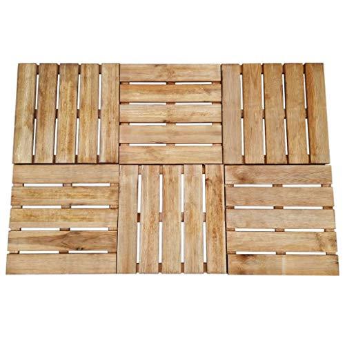 vidaXL 6x Holz Terrassenfliesen Braun 50x50cm Klickfliesen Holzfliesen Fliese