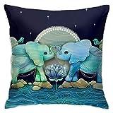 Funda de cojín con diseño de Elefantes y Flores, Color Azul océano y Verde mar, 45 x 45 cm, Tela de Felpa para decoración del hogar, Funda Cuadrada para sofá, Suave y cómoda, 45 x 45 cm