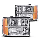 Sierra Headlight Housing from Torchbeam, Replacement Headlight Assembly for 2007-2014 Sierra 1500 HD/1500/2500 HD/3500 HD, Amber Reflector Clear Lens Driver and Passenger Side
