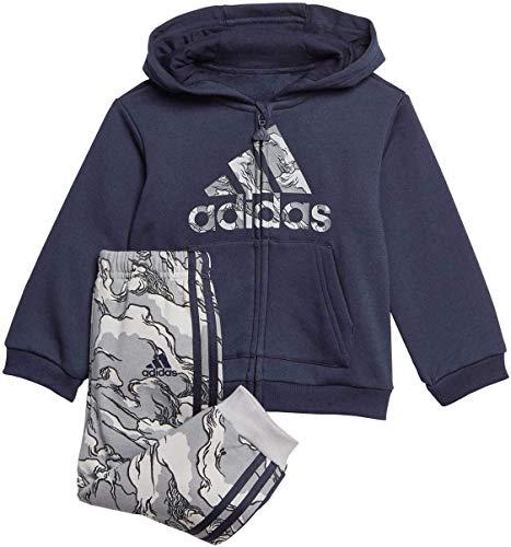 adidas I Logo FZ HD FL, Tuta Unisex Bimbi, Top:Legend Ink/Grey Three F17 Bottom:Grey Three F17/Black, 1824