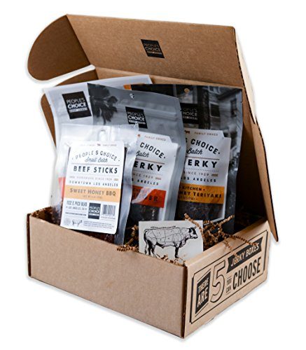 People's Choice Beef Jerky - Jerky Box - Sweet Tooth - Meat Snack Sampler Gift Basket - 4 Items