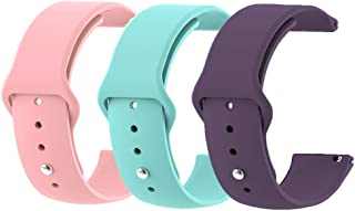 MLQSS Quick Release Soft Silicone Watch Bands for Samsung Gear S3,18mm 20mm 22mm Universal Adjustable Sport Strap for Amazfit/Pebble/Fossil Q/Huawei Women Men SmartWatch (3 Pack-1, 22mm Width)