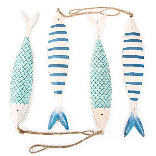 Logbuch-Verlag 4 Dekofische zum Aufhängen Fisch mit Schnur blau weiß türkis Maritime Anhänger Deko aus Metall Blech Fischanhänger sommerlich Kommunion Taufe
