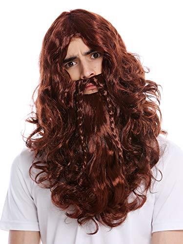 WIG ME UP ® - 90760-A+B-ZA340B Peluca y Barba Trenzado Largo Vikingo Salvaje Hombre del Norte bárbaro Enano marrón