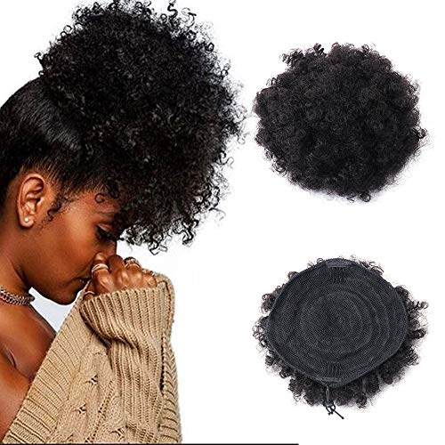 Capelli umani Afro ricci coda di cavallo Parrucche, africano naturale Puff coulisse Ponytail Hairpieces africano parrucca extension con clip By Golden Rule(nero)