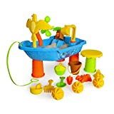 Beach Water and Sand Toys Set for Kids - Outdoor Sandbox Toys Fun for Boys and Girls 2+ yrs - Summer Beach Wagon 23pcs kit that includes sand bucket, shovel, rakes, watering can and more