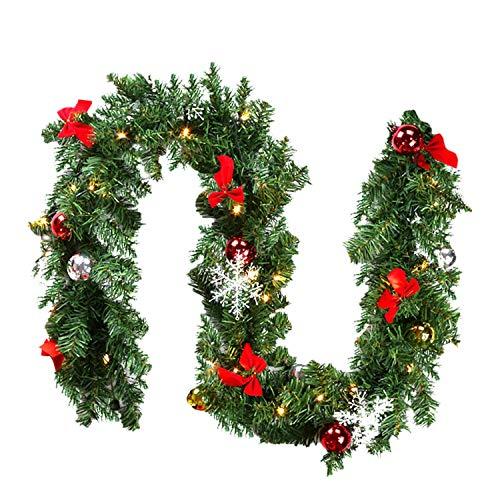 Hengda 5M Weihnachtsgirlande Tannengirlande Künstlich 100 LED's Grüne Weihnachtsgirlande Deko für Kamine Treppen Wand Tür Draußen Innen Balkon