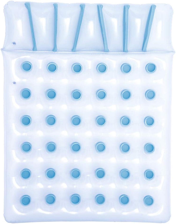 Pool Spielzeuge Doppelte Schwimmende Reihe Aufblasbares Schwimmendes Bett Wasserbett Strandmatte Wasserkissen Aufblasbarer Sessel Lastgewicht 180kg (Farbe   Blau, Größe   193  142cm)