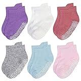 YSense 6 pares de Bebe Calcetines Antideslizantes Color para niños para 0-12 Meses