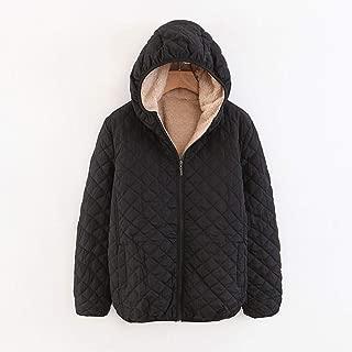 Nobrand TGLAYA Women Autumn Winter Parkas Coat Female Lamb Hooded Plaid Long Sleeve Jacket
