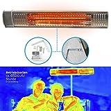 Gardigo - Chauffage Exterieur Electrique Infrarouge de Terrasse 2000 W; Chauffage Radiant à Rayonnement Infrarouge pour Gastronomie Restaurants Balcon Jardin Vérandas; Tube Infrarouge en Or; IP 65