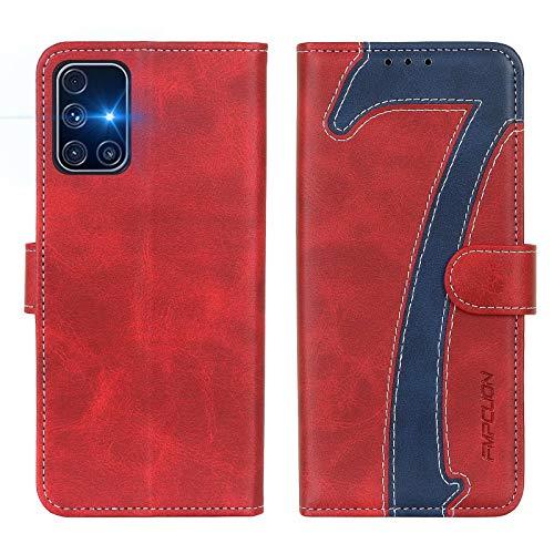 FMPCUON Hülle für Samsung Galaxy M31S Handyhülle, Samsung Galaxy M31S Klapphülle, Flip Leder Wallet Cover Handytasche Schutzhülle Hülle für Samsung Galaxy M31S, Rot Blau