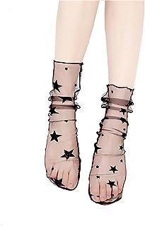 Fishnet malla de nylon transparente Hollow Out Lace calcetines cortos con volantes para las mujeres