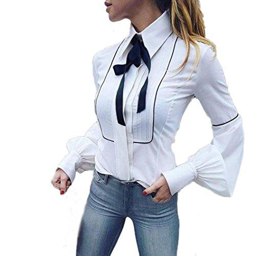 DEELIN Camiseta De Trabajo De Manga Larga para Oficina, Blanca, Cintura Blanca, Camiseta De Manga Larga con Cuello En V, Blusas para Mujer