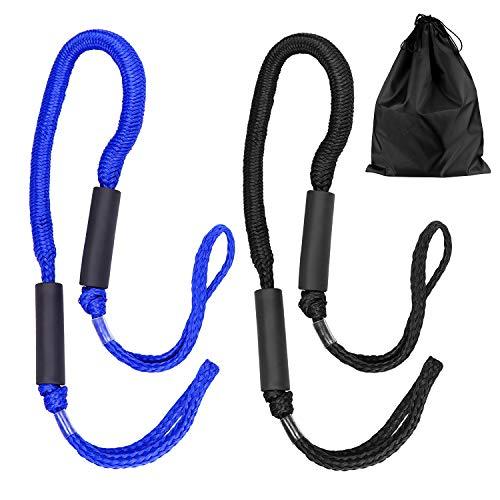 Yotako Bungee-Seil mit Aufbewahrungstasche für Boot, PWC, Jet Ski, Pontoon, Kajak, Kanu, Power Boot (schwarz, blau), 2 Stück