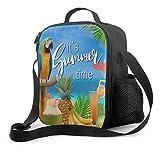 Delerain - Bolsa de almuerzo con asa y correa para el hombro, bolsa de almuerzo aislada para niños, niñas, niños, preescolar, oficina, picnic