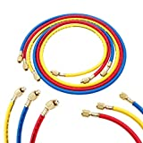 AC Charging Hose Tube, 60' Refrigerant Charging Hose, (3000~600) PSI, 1/4' SAE-1/4 SAE Thread for R134A R12 R22 R502 Manifold Hose Set, Pack of 3