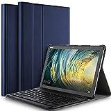 IVSO Tastatur Hülle für Huawei MediaPad M5 Lite 10, [QWERTZ Deutsches], Ultradünn Ständer Schutzhülle mit magnetisch abnehmbar Wireless Tastatur für Huawei MediaPad M5 Lite 10.1 Zoll 2018, Blau