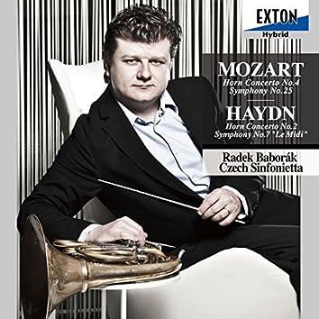 Mozart: Horn Concerto No. 4, Symphony No. 25 - Haydn: Horn Concerto No. 2, Symphony No. 7 ''Le Midi''