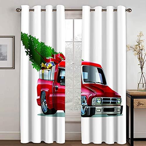 ANAZOZ 2 Paneles Cortinas Habitacion Cortinas Exterior Poliester Coche con Árbol de Navidad y Regalos Rojo Verde Blanco Cortinas Habitacion Tamaño 274x138CM