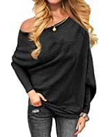 VOIANLIMO Women's Off Shoulder Knit Jumper Long Sleeve Pullover Baggy Solid Sweater Black XL