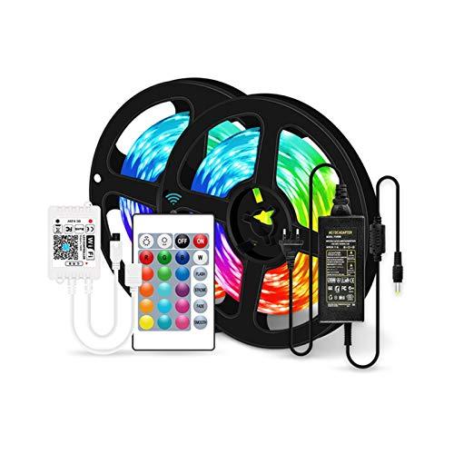 CUzzhtzy Luces de tira ajustables LED, cinta flexible de cadena de luz RGB DC12V, cambio de color sincronizado de música, control remoto, usado en dormitorio, familia, cocina, televisión, fiesta y fes