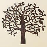 B&B Wand Dekoration Baum 71cm Braun Eisen Wanddeko Baumdekoration