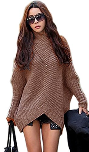 Mikos*Damen Poncho Strick Pullover Jacke Cardigan Fledermausärmel Japan Style SM Schwarz Grau (423) (Braun)