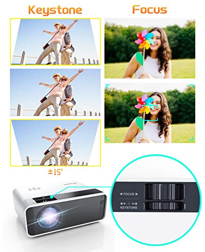 Mini Proyector, ELEPHAS Portatil Proyector 5500 Lúmenes Proyector de Cine en Casa LED de Larga Duración 1080P Compatible, Compatible con PS4, PC a Través de HDMI, VGA, TF, AV y USB miniatura