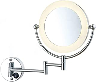 Wall Mount Lighted Makeup Mirror, Foldable Vanity Mirror LED Makeup Double-Sided 1X+3X Magnify Mirror Could Be Rotated 360° Extendable Bathroom Mirror,Silver,20cm/8.5inch