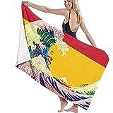 Toallas de Playa Bandera de España y Wave Off Kanagawa Toalla de Playa Grande Manta Toalla de baño Ultra Suave y Altamente Absorbente de Gran tamaño 130 X 80 cm