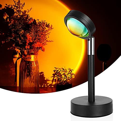 Luz LED de Proyección del Atardecer,180° Lámpara de Proyección Sunset, Carga USB Proyector Romántico,Lámpara de Pie Modernas LED para Salón, Dormitorio, Oficina(Rojo atardecer)