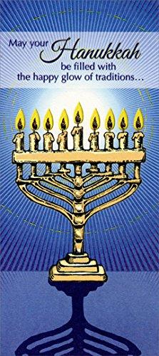Menorah on Blue - Package of 8 Designer Greetings Hanukkah Money / Gift Card Holders