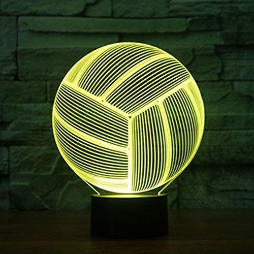Lámparas de baloncesto Lámpara USB Usb Lámpara de control remoto Interruptor táctil 3D Lámpara de mesa 3d Dormitorio 7 Luces coloridas de la noche Ventiladores de baloncesto USB recargables Presente H