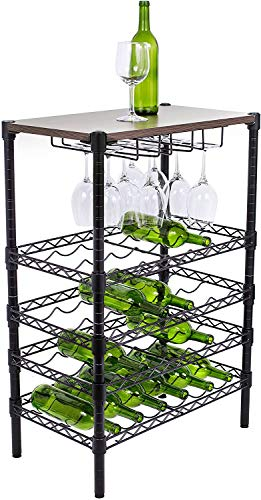Internet's Best 24 Bottle + 12 Glass Wine Stand Rack with Wood Top - Kitchen - Glass Hanger - Large Metal Black - Vertical Shelf Storage Cabinet - Free Standing Holder