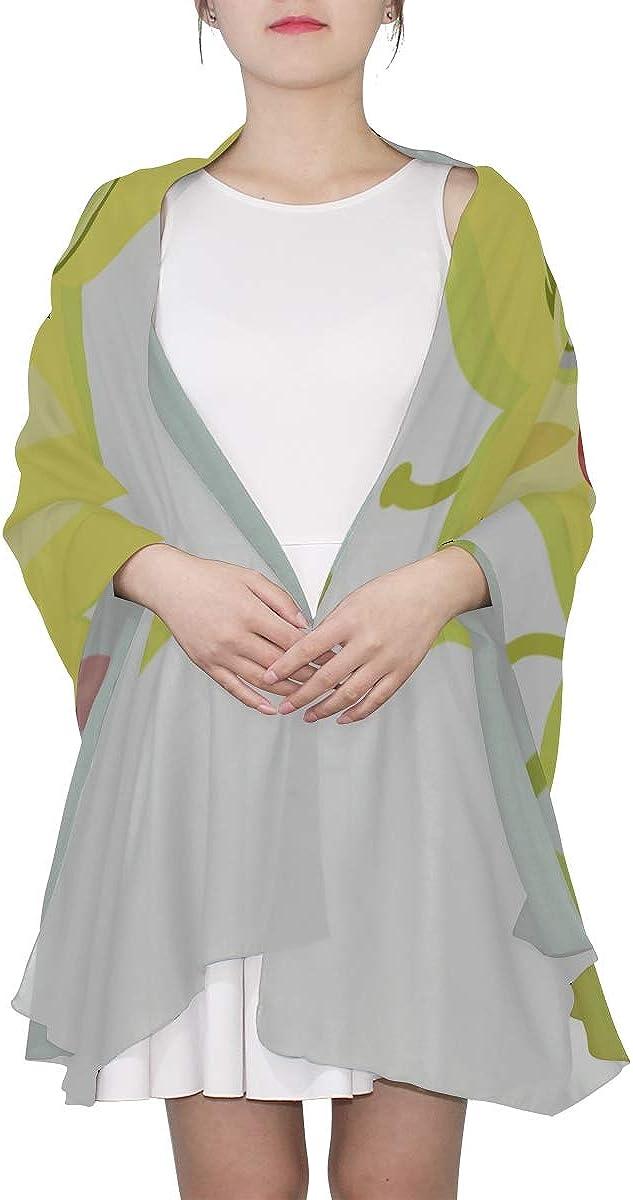 Colorful Scarf Carambola Cartoon Star Fruit Lady Scarf Fashion Scarfs Women Lightweight Print Scarves Large Wrap Shawl Women Scarfs