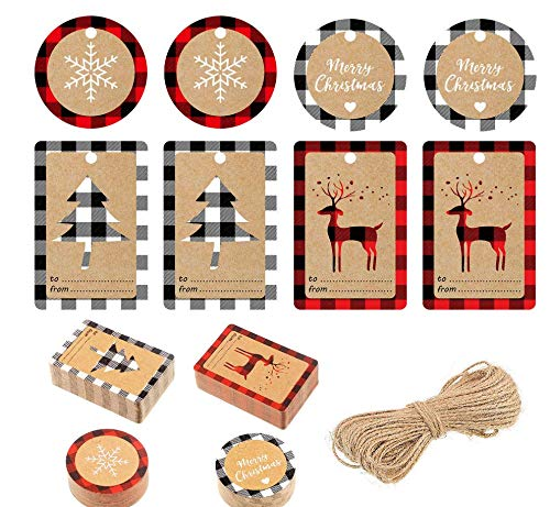200 Pieces Christmas Paper Tags Christmas Hang Labels Christmas Stickers with Red Black Plaid and White Black Plaid Snowflake Christmas Tree Elk Patterns and 66 Feet Twine Rope for Christmas